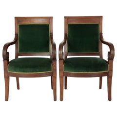 Pair of Empire Armchairs, France, circa 1800, Solid Walnut, Rich Brown