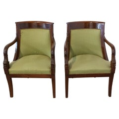 Pair of Empire Armchairs Mahogany Desk Chairs French 20th Century to Recover