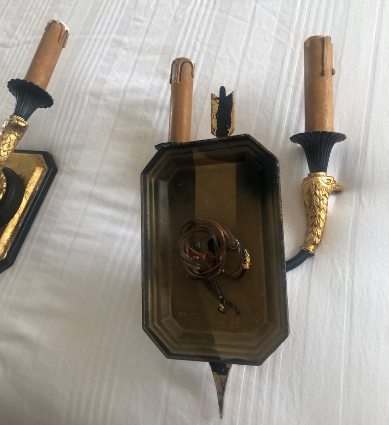 Pair of Empire Black and Gold Wall Sconces 3