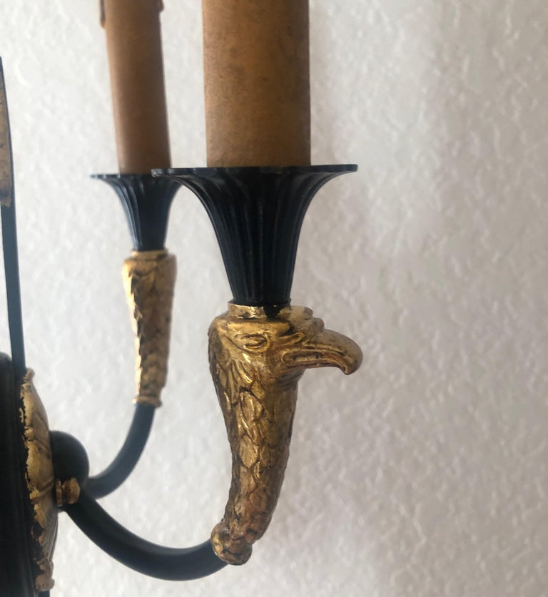 Pair of Empire Black and Gold Wall Sconces 4