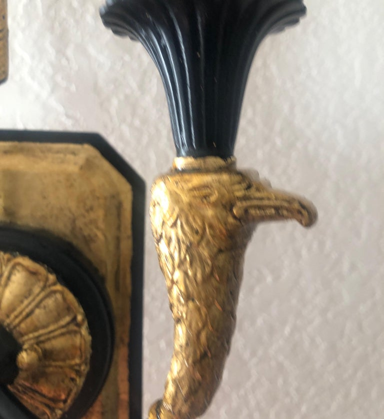 Pair of Empire Black and Gold Wall Sconces 1
