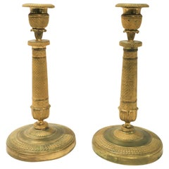 Pair of Empire Bronze Candlesticks