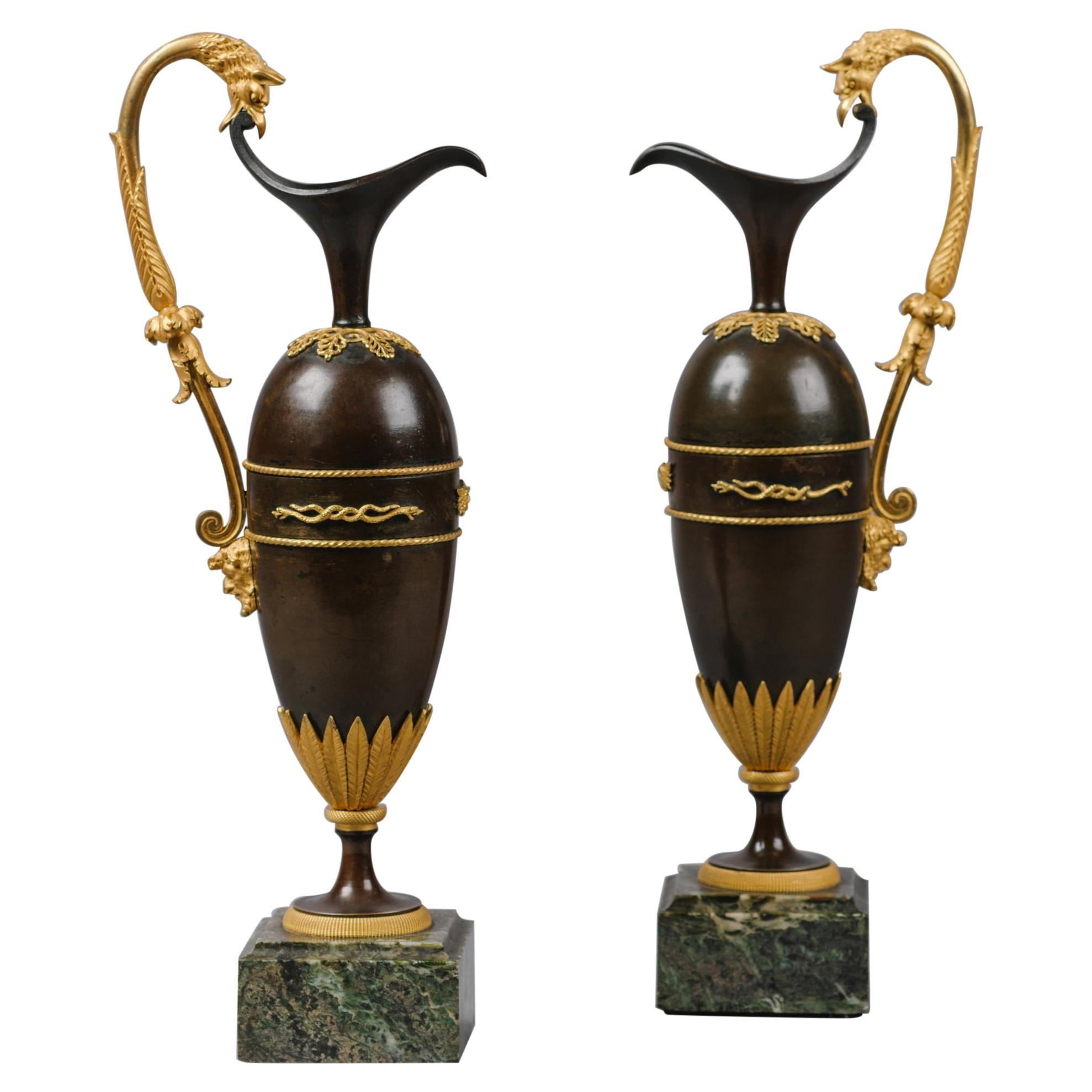 Pair of Empire Bronze Ewers in The Manner of Claude Galle