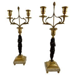 Pair of Empire Candelabras Made for Two Candles Each, circa 1810