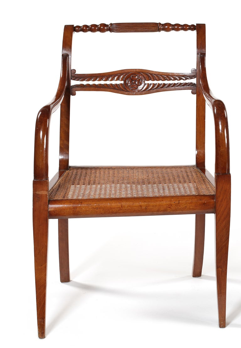 French Pair of Empire Carved Mahogany Open Armchairs For Sale