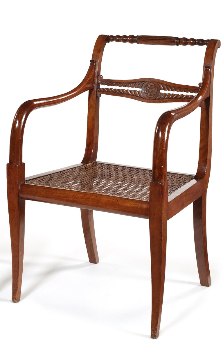 Pair of Empire Carved Mahogany Open Armchairs In Good Condition For Sale In London, GB