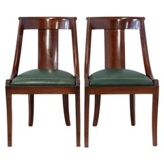 Pair of Empire Chairs French 20th Century Green Leather