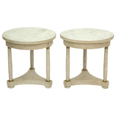 Pair of Empire Form Painted End Tables with Mirrored Tops