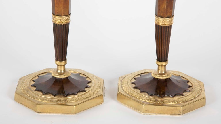 Pair of Empire French Bronze Candlesticks In Good Condition For Sale In Stamford, CT