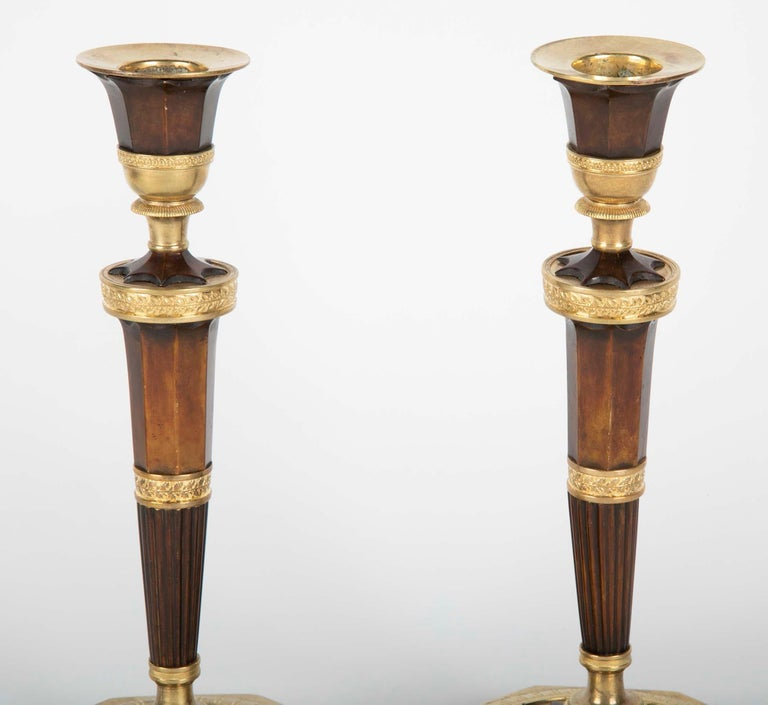 19th Century Pair of Empire French Bronze Candlesticks For Sale