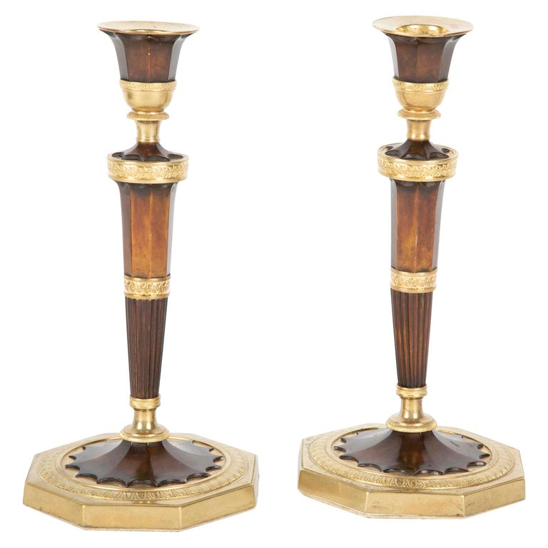 Pair of Empire French Bronze Candlesticks For Sale
