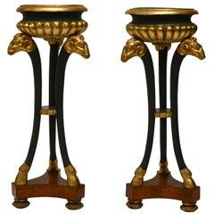 Pair of Empire Gilt and Patinated and Mahogany Veneered Wood Gueridons