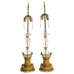 Pair of Empire Gilt Bronze and Rock Crystal Table Lamps by Thomire à Paris
