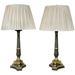 Pair of Empire Gilt Bronze Table Lamps