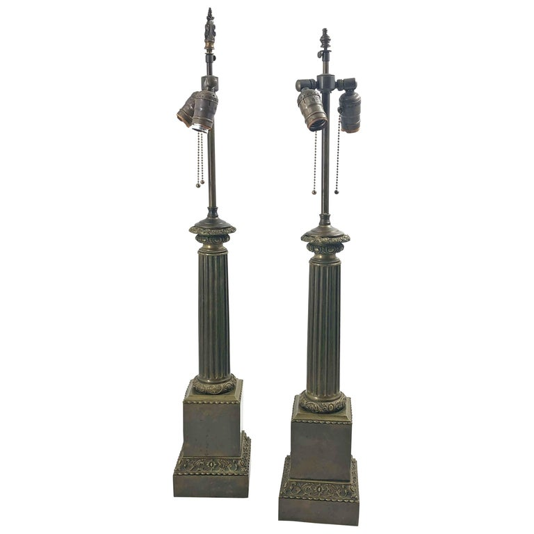 Pair of Empire Lamps - Labeled Nancy For Sale