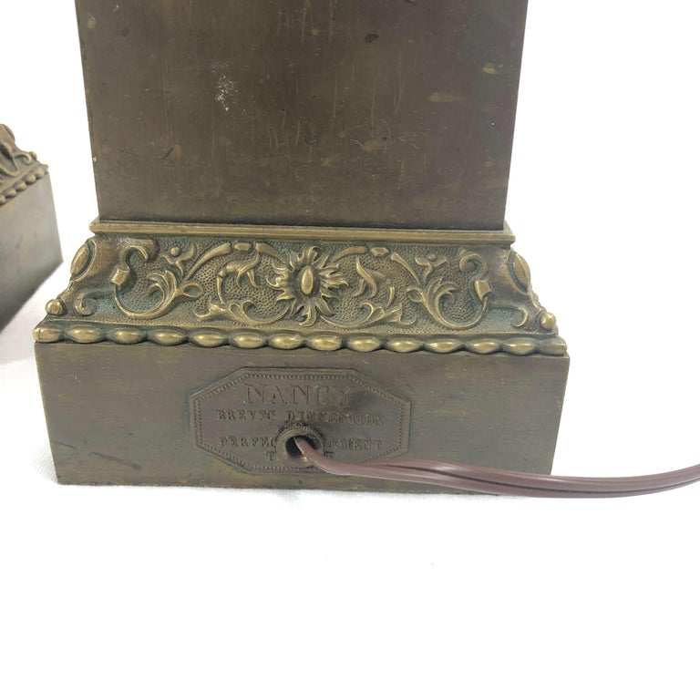 Mid-19th Century Pair of Empire Lamps - Labeled Nancy For Sale