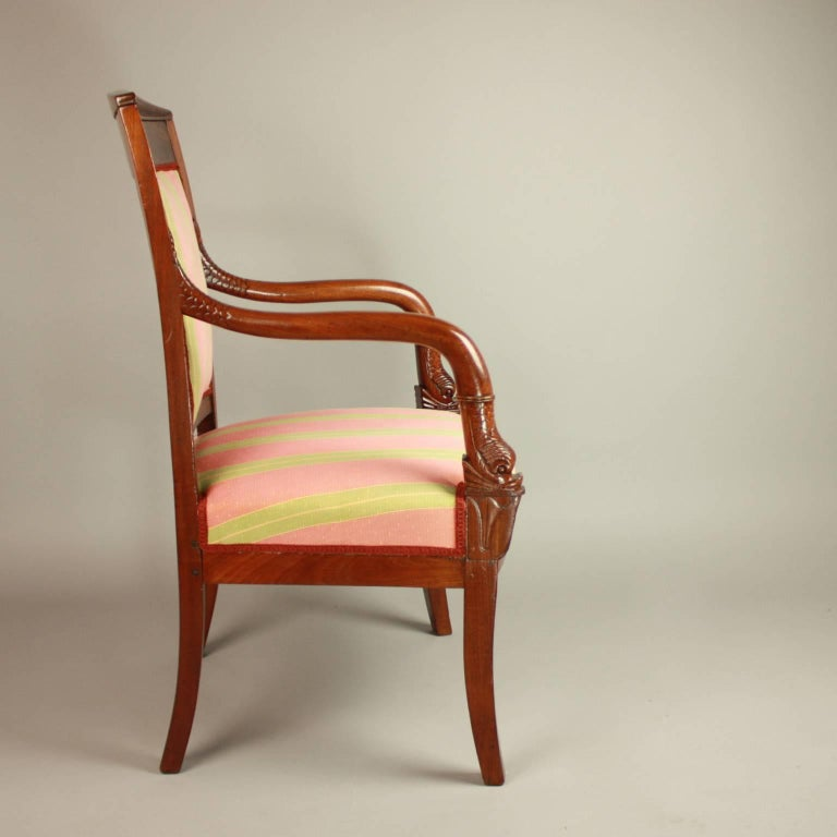French Pair of Empire Mahogany Fauteuils, in the Manner of Pierre Bellange For Sale