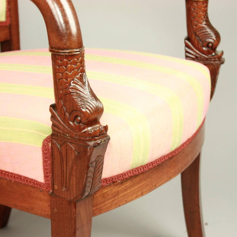 Pair of Empire Mahogany Fauteuils, in the Manner of Pierre Bellange For Sale 1