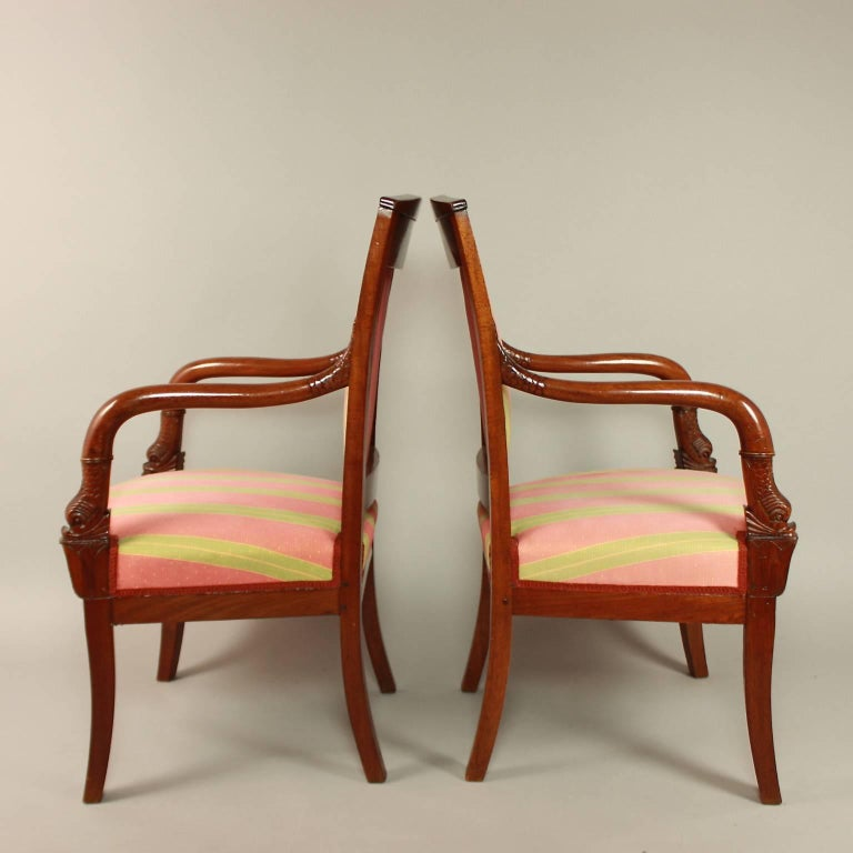 Pair of Empire Mahogany Fauteuils, in the Manner of Pierre Bellange For Sale 3
