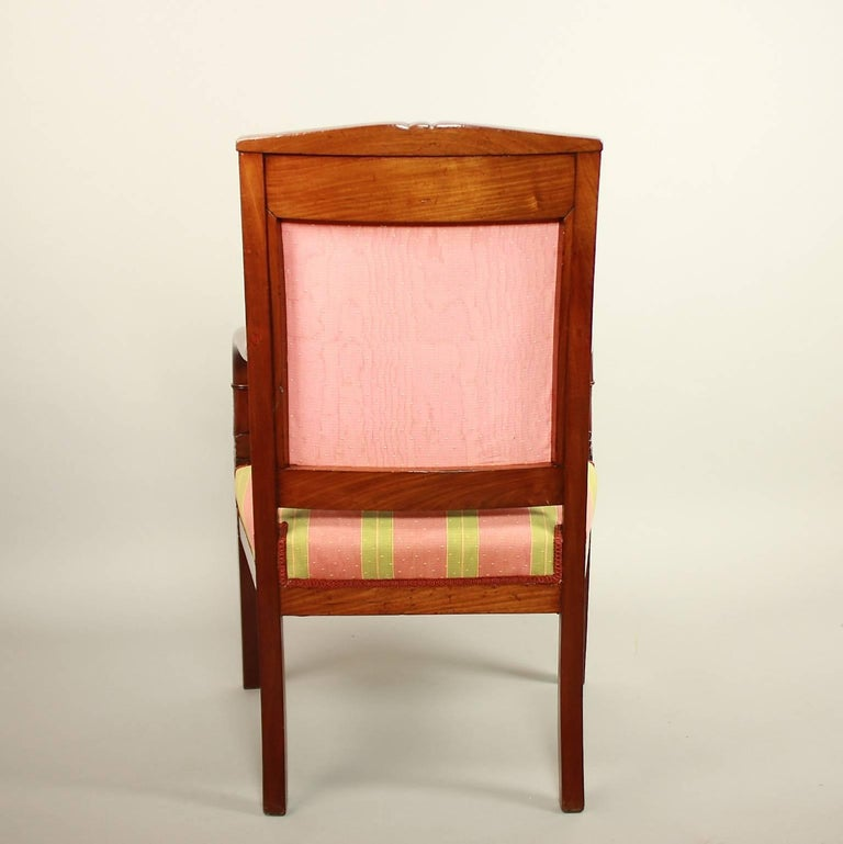 Pair of Empire Mahogany Fauteuils, in the Manner of Pierre Bellange For Sale 4