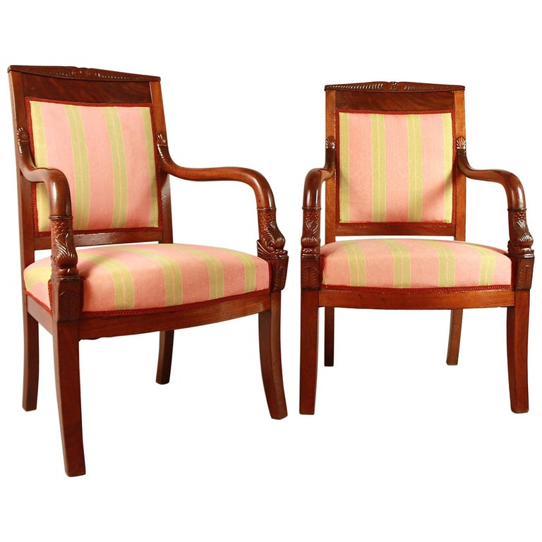 Pair of Empire Mahogany Fauteuils, in the Manner of Pierre Bellange For Sale