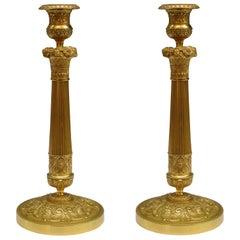 Pair of Empire Ormolou Candlesticks