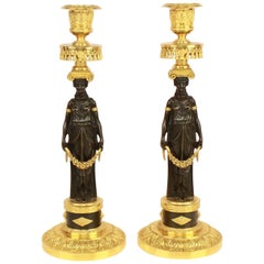 Pair of Empire Ormolu and Patinated Bronze Candlestick in the Manner of C.Galle