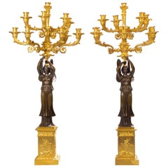 Pair of Empire Ormolu and Patinated Bronze Figural Ten-Light Candelabra