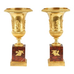 Pair of Empire Ormolu Bronze and Rouge Marble Campana Vases