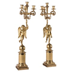 Pair of Empire Gilt Bronze Candelabras French Candleholders with Cherubs 1810