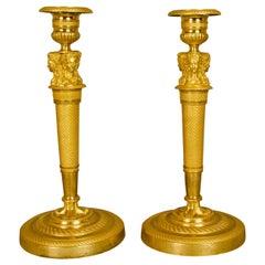 Pair of French Empire Ormolu Gilt Bronze Female Busts Candlesticks, circa 1820