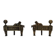 Pair of Empire Period Bronze Andirons with Lions, French, circa 1850