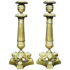 Pair of Charles X Period Gilt Bronze Candlesticks, France Circa 1830