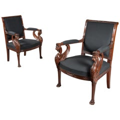 Pair of Empire Period Mahogany Fauteuils, Armchairs