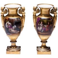 Pair of Empire Period Porcelain Vases 19th Century
