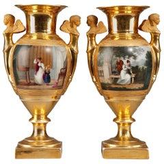 Pair of Empire Period Porcelain Vases, 19th Century