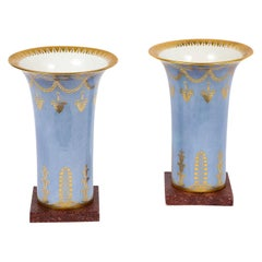 Pair of Empire Period Sèvres Porcelain Pale Blue and Faux Porphyry Ground Vases
