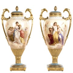 Pair of Empire Portrait Urns by Royal Vienna