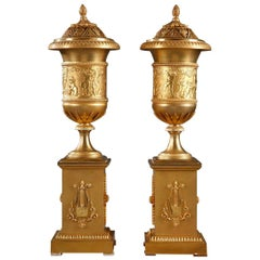 Pair of Empire Pot-Pourri and Candlestick Vases