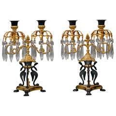 Pair of Empire Revival Twin-Light Lustre Candelabra