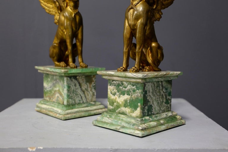 Pair of Empire Sphinx, Bronze and Alabaster, France 19th Century Napoleon III For Sale 4