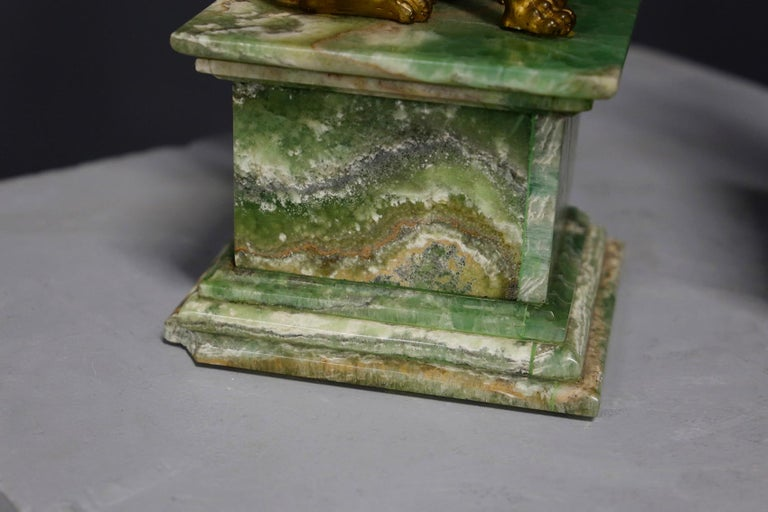 French Pair of Empire Sphinx, Bronze and Alabaster, France 19th Century Napoleon III For Sale
