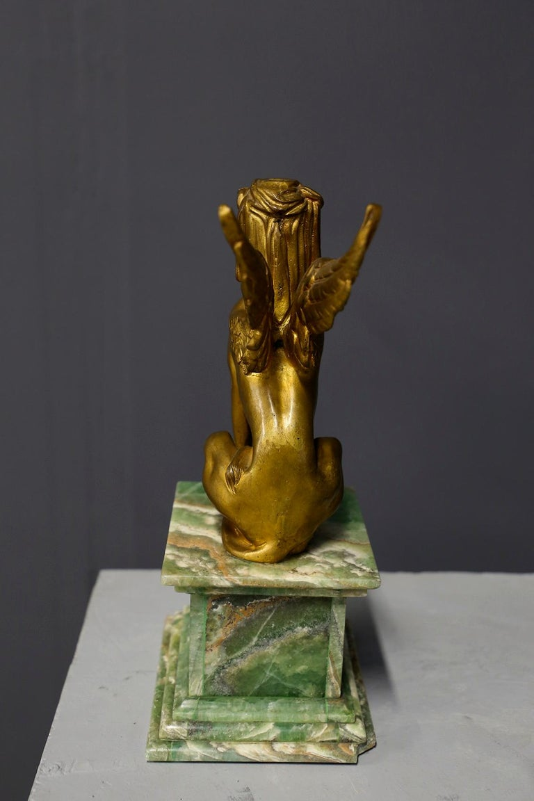 Brass Pair of Empire Sphinx, Bronze and Alabaster, France 19th Century Napoleon III For Sale