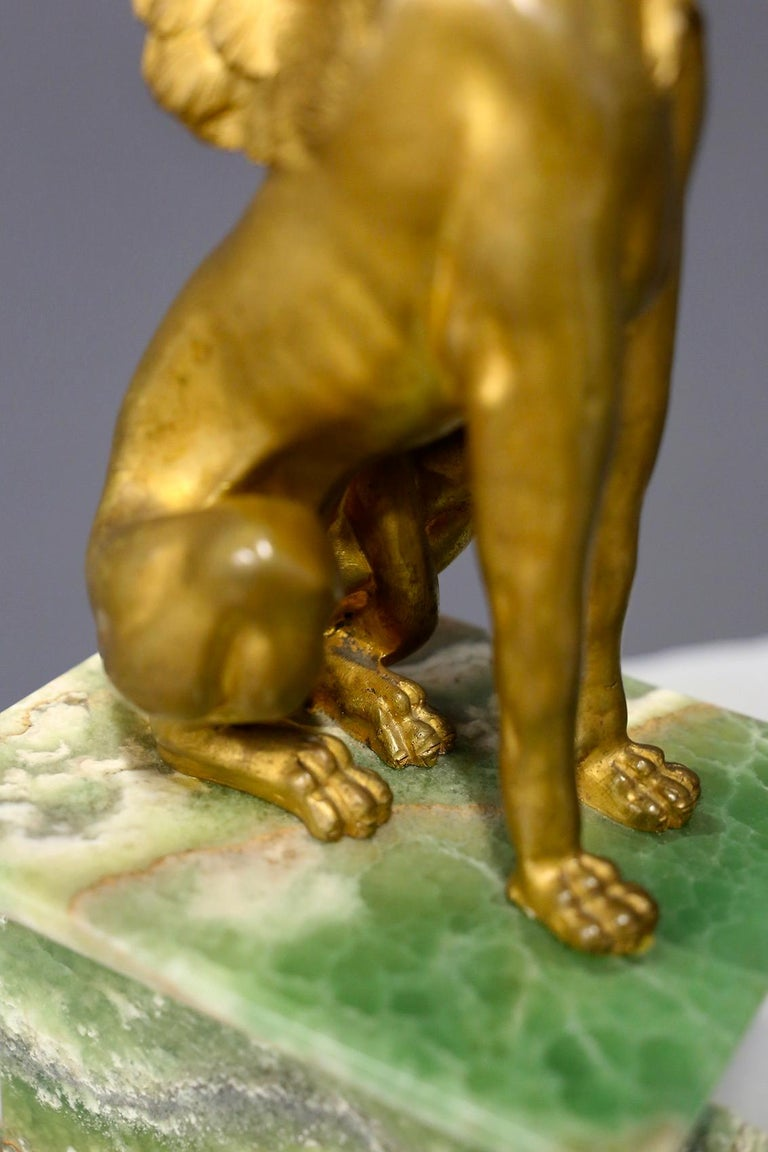Pair of Empire Sphinx, Bronze and Alabaster, France 19th Century Napoleon III For Sale 1