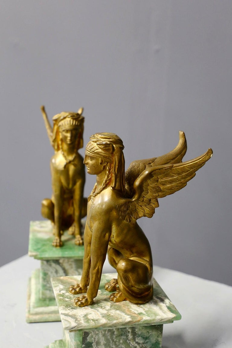 Pair of Empire Sphinx, Bronze and Alabaster, France 19th Century Napoleon III For Sale 2