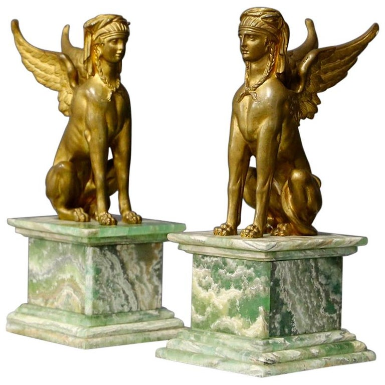 Pair of Empire Sphinx, Bronze and Alabaster, France 19th Century Napoleon III For Sale