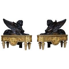 Pair of Empire Sphinx Chimneys, Brass Andirons, Paris 19th Century Napoleon III
