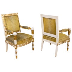 Pair of Empire Style Armchairs in Gilt and White Wood, 1950s