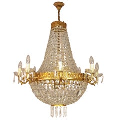 Pair of Empire Style Basket Chandeliers, Early 20th Century