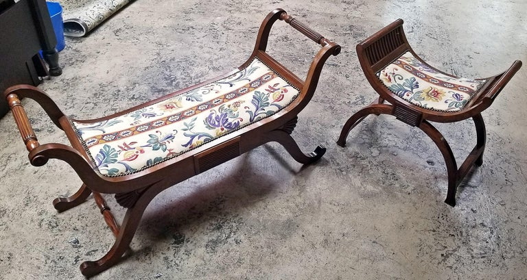 Pair of Empire Style Bedroom Scroll End Bench Seats For Sale 8